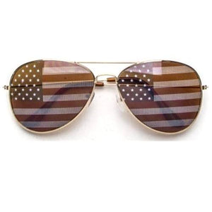 USA Flag Lens Aviator Sunglasses - The Flag Shirt