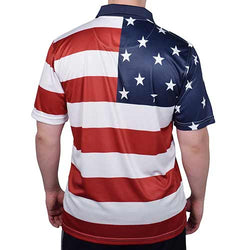 Horizontal American Flag Mens Tech Polo Shirt - The Flag Shirt