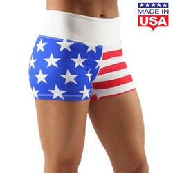 High Waisted American Flag Fit Shorts - The Flag Shirt