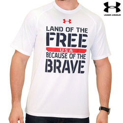 Land of the Free Under Armour Performance T-Shirt-White - The Flag Shirt