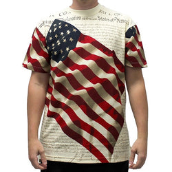 Allover Patriotic T-Shirt Crew Neck - The Flag Shirt
