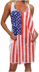 USA Loose tank swimwear dress - the flag shirt