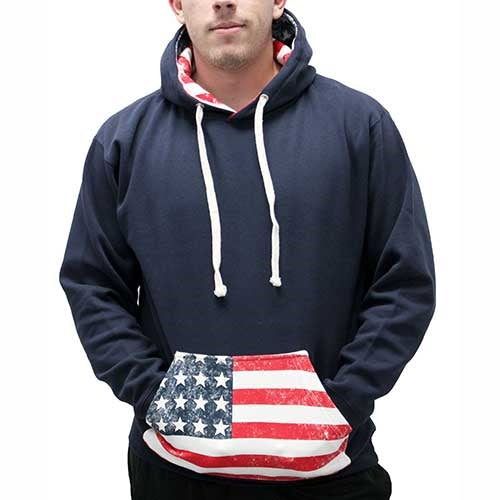 American Flag Mens Pullover Hoodie - 996M-BB - The Flag Shirt