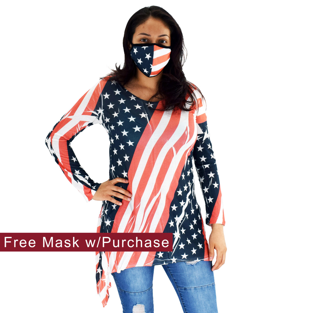 womens top made in the usa - the flag shirt