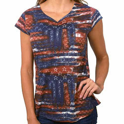 c4488f21947 Womens American Flag abstract Navy Tee