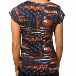 Womens American Flag abstract Navy Tee