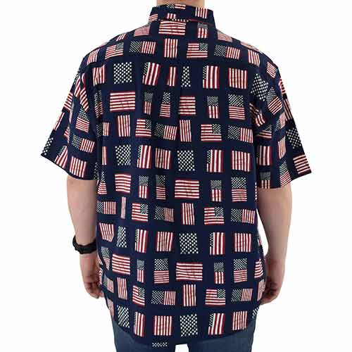 Men's Flag Print Button Up Short Sleeve Shirt
