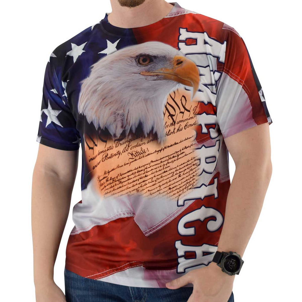 America and Eagle Head Sublimation Mens Tee - theflagshirt