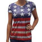 Ladies Stars on Top Distressed US Flag Tshirt