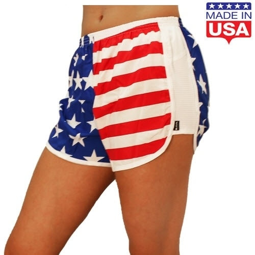 Womens American Flag Running Shorts - The Flag Shirt