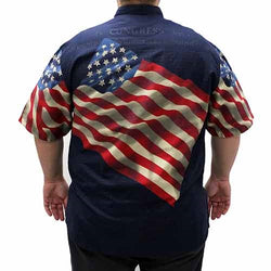 Woven Benji American Flag Mens Shirt - Navy - The Flag Shirt