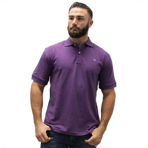 Biscayne Bay Embroidered Mens Polo Plum - The Flag Shirt