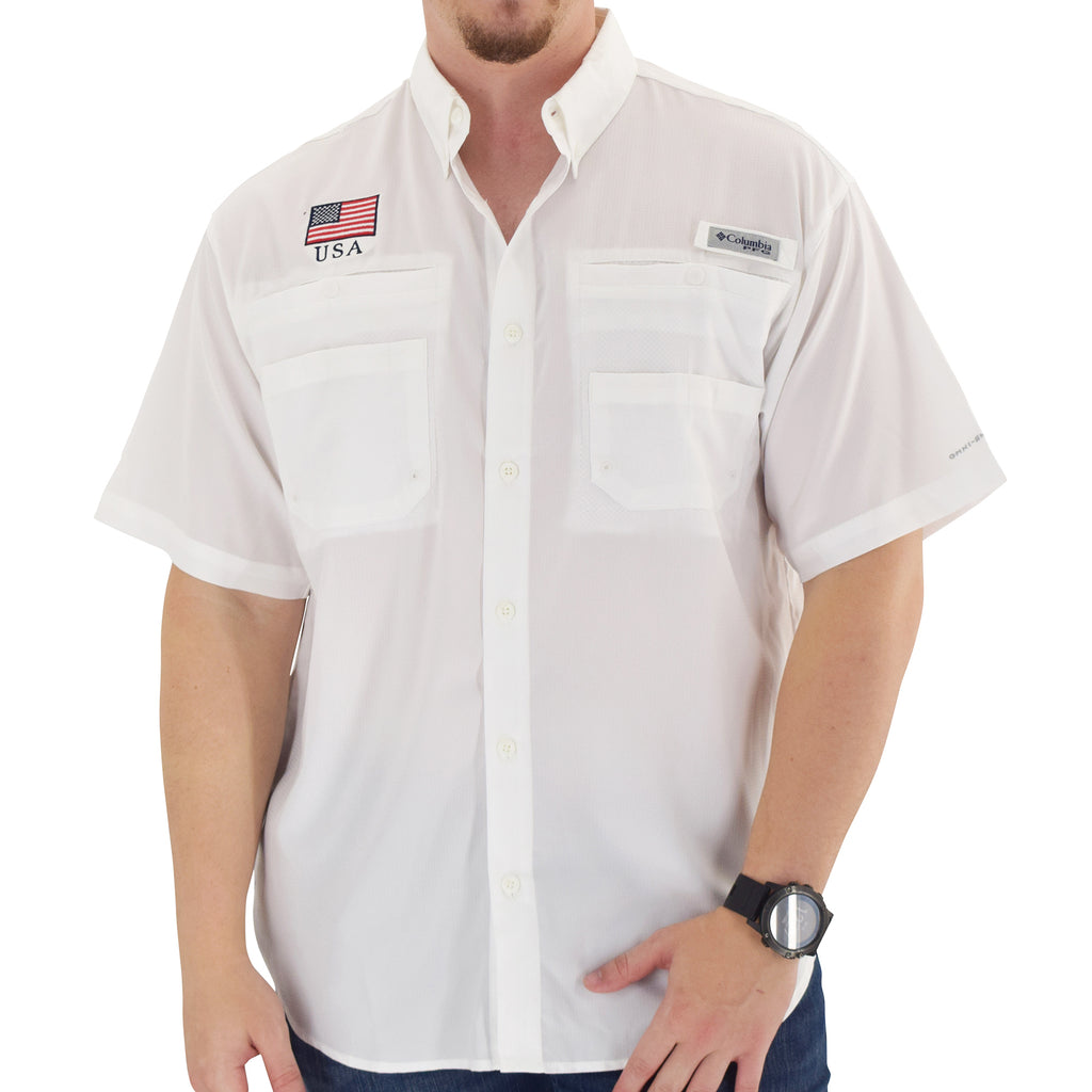 Columbia Short Sleeve Tamiami Shirt - American Flag Patch - The Flag Shirt