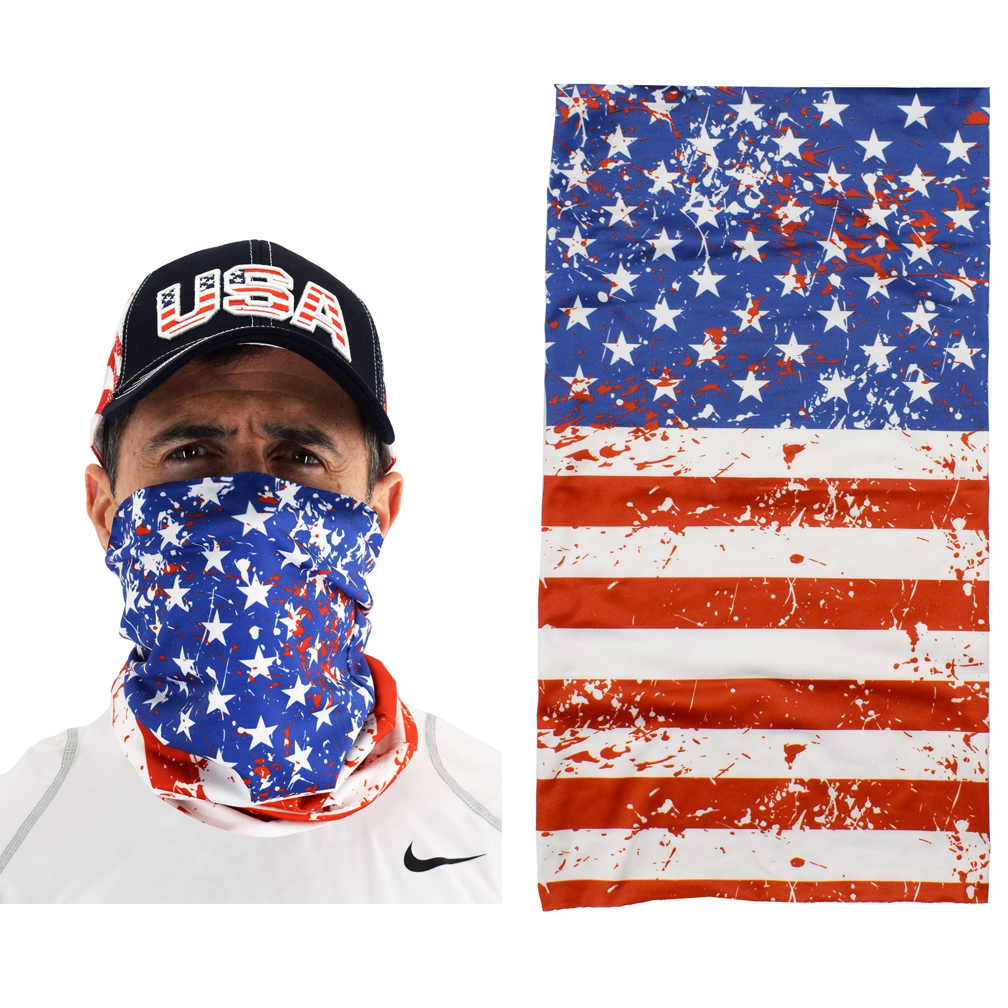 Cloth Gaiter Scarf with American Flag - Multi