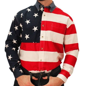 Mens Woven  Sleeve American Flag Shirt - The Flag Shirt