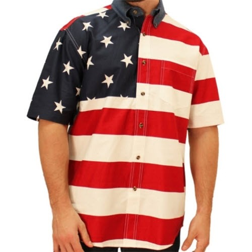 Mens Woven Short Sleeve American Flag Shirt - The Flag Shirt