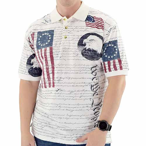 Mens Constitution Button Polo Shirt - The Flag Shirt