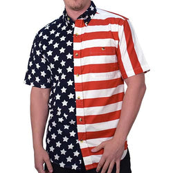 Mens American Flag Button Down Polo Shirt