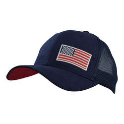 American Flag Embroidered, Mesh Back Cap In Navy With Red Under Bill - The Flat Shirt