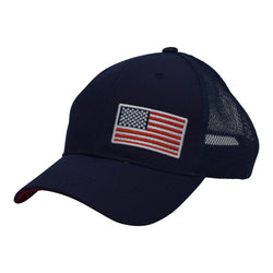 American Flag Embroidered, Mesh Back Cap In Navy With Red Under Bill
