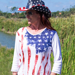 American Summer Ladies Stars & Stripes 3/4 Sleeve Top
