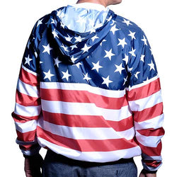 Mens Full Zipper Patriotic Hoodie Jacket