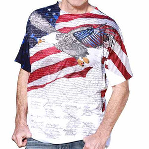 Constitution with Soaring Eagle Mens USA Sublimation Tee - theflagshirt