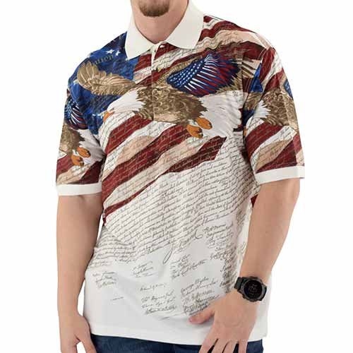 Eagle Flight with Constitution Mens 100% Cotton Polo Shirt