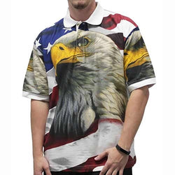 Men's Short Sleeve Knit Polo in Eagle5 print- White - The Flag Shirt