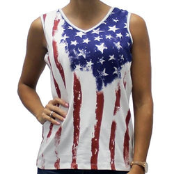 Old Glory V-neck Ladies Tie Dye Tank Top - The Flag Shirt