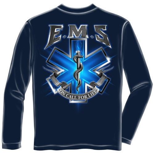 On Call for Life EMS Mens Long Sleeve T-Shirt - The Flag Shirt