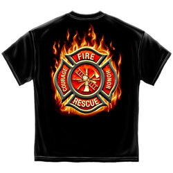 Classic Flaming Fire Rescue Mens T-Shirt