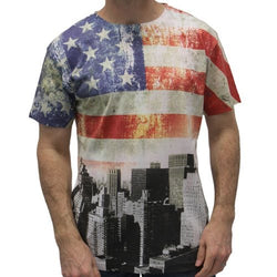 USA Distressed Flag T-Shirt with City Skyline - The Flag Shirt