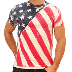 Hand Painted Diagonal American Flag Mens T-Shirt - The Flag Shirt