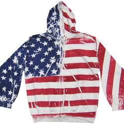 Hand Painted American Flag Mens Full Zip Hooded Sweatshirt - The Flag Shirt