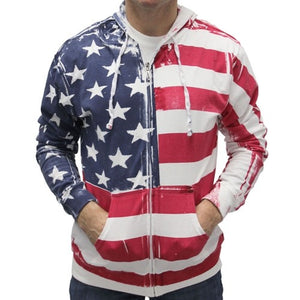 Lightweight All American Hand Painted Hoodie - The Flag Shirt