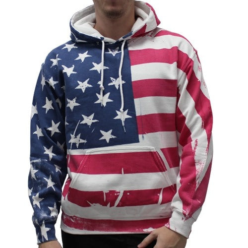 Hand Screened American Flag Mens Hooded Sweatshirt - The Flag Shirt