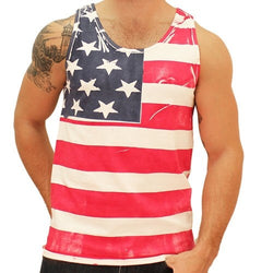 Hand Painted American Flag Mens Tank Top - The Flag Shirt