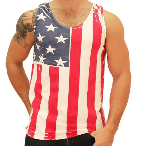 Vertical American Flag Mens Tank Top - The Flag Shirt