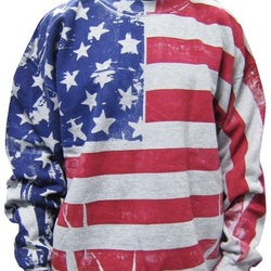 American Flag Mens Crew Neck Sweatshirt-Grey - The Flag Shirt