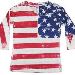 Ladies Three Quarters Sleeve Hand Painted American Flag T-Shirt - The Flag Shirt