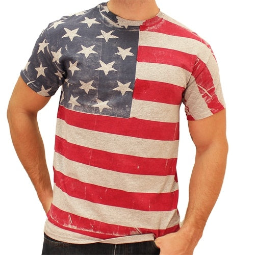 hand painted american flag t shirt