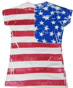 FR Born In The USA Junior Size American Flag T-shirt - The Flag Shirt
