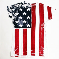Juniors Vertical American Flag T-shirt - The Flag Shirt