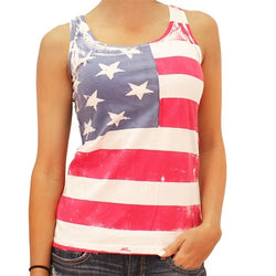 Ladies Hand Painted American Flag Jersey Tank Top - The Flag Shirt