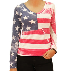 Lightweight Long Sleeve V-Neck with Horizontal Stripes - The Flag Shirt