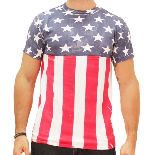 Stars and Stripes Hand Painted American Flag Mens T-Shirt - The Flag Shirt