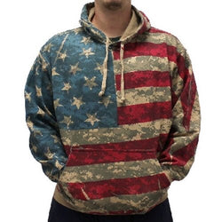 Mens Digital American Flag Camo Hoodie - The Flag Shirt