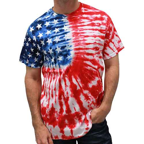 Patriotic t shirt Tie Dye Painted Stars