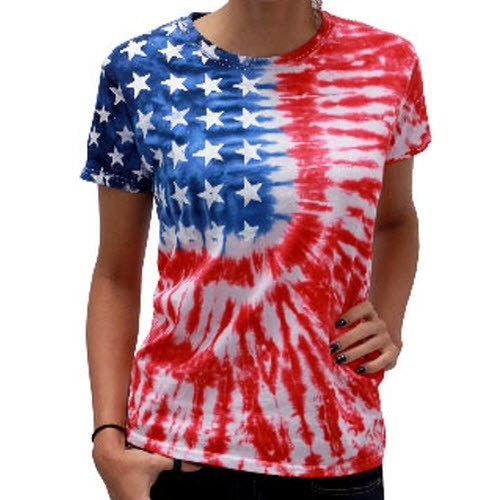 Ladies Tie Dye Flag T-Shirt